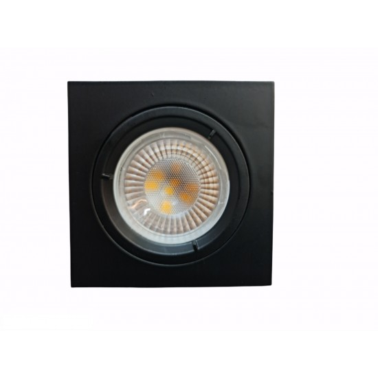 GU10 Square Fixed Recessed Downlight Spotlight Black Chrome