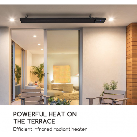 Infrared wall or ceiling Radiant heater 2400W IP44 Remote Control Black