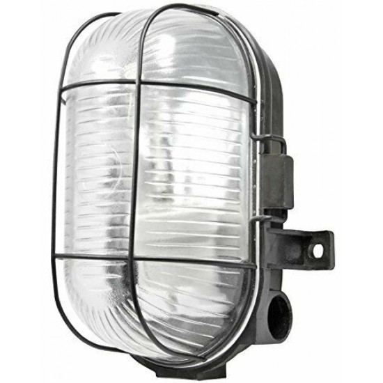 Black Oval Cage Metal Bulkhead IP44 Outdoor or Indoor Use