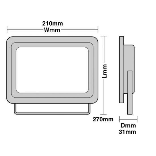 100W Led External Floodlight Slim Design Cool White 6000K
