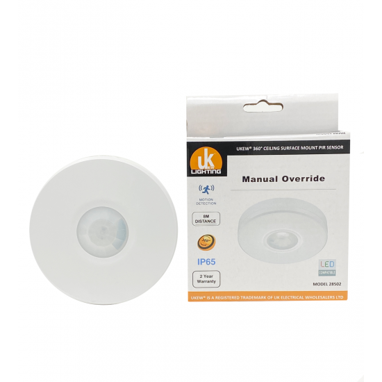 IP65 Bathroom or Outdoor Ceiling Surface Mount Occupancy PIR Motion Sensor