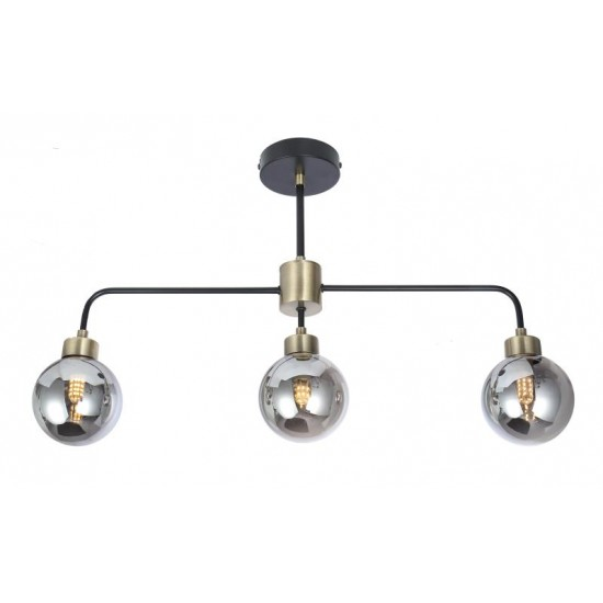 Modern Semi Flush Black and Brass 3 Way Smoked Ball Ceiling Light