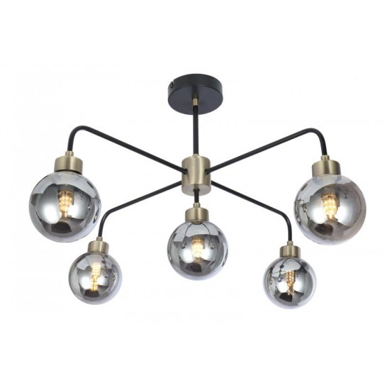 Modern Semi Flush Black and Brass 5 Way Smoked Ball Ceiling Light