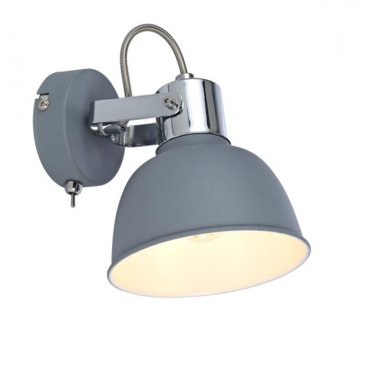 Grey Single Wall Bedside Light Shade with Toggle Switch