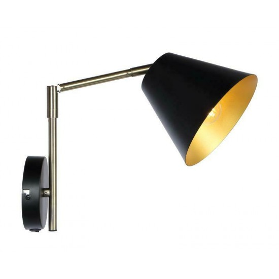 Modern Black Bedside Rocker Switch Swing Arm Adjustable Wall Mount Light Fitting