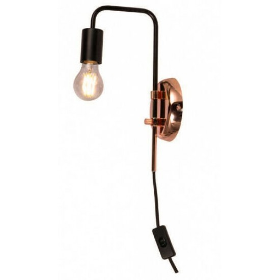 Bedside Black/Copper Wall Light Plug in Switch and Swing Arm Fitting UK Plug