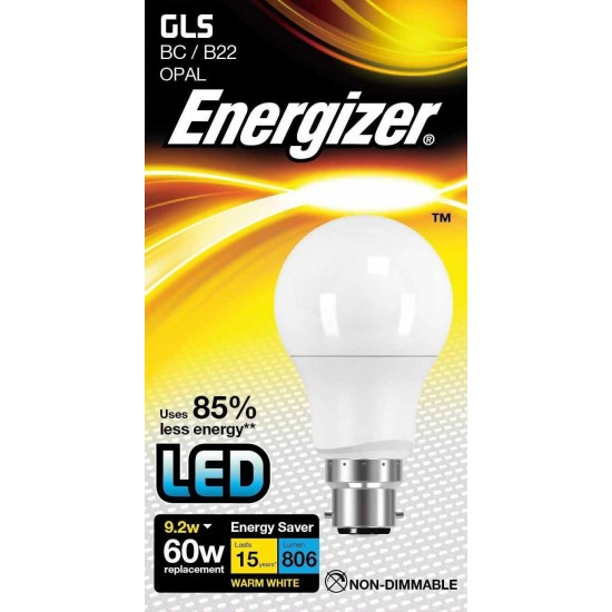 Energizer 9.2W LED GLS Globe Day Light 6000K Bulb BC B22 Fitting