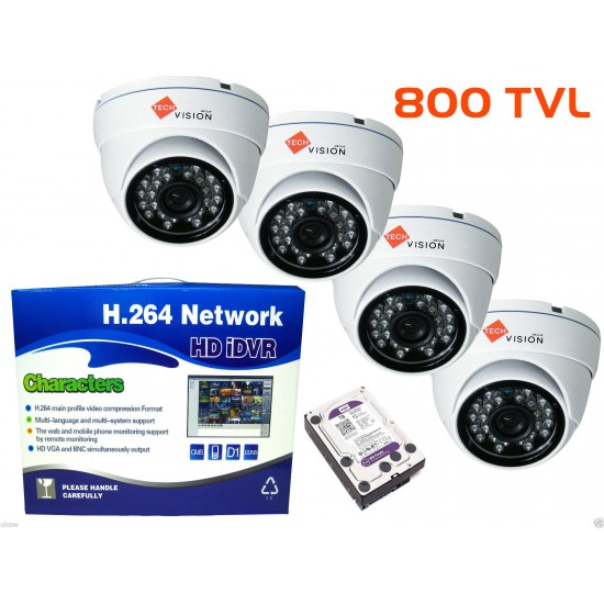 4 x Outdoor or Indoor  Dome 800TVL WHITE cctv camera kit+ 8CH DVR P2p Cloud Viewing