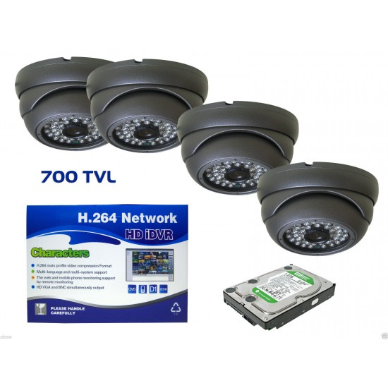 4xDome 700TVL Grey cctv camera kit+ 4CH DVR P2p Cloud Viewing