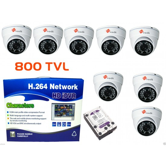8xDome 800TVL WHITE cctv camera kit+ 8CH DVR P2p Cloud Viewing
