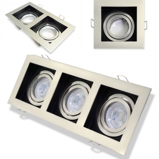 Modish design square 1,2 or 3 Way GU10 Spotlight Ceiling Downlight Satin&Black