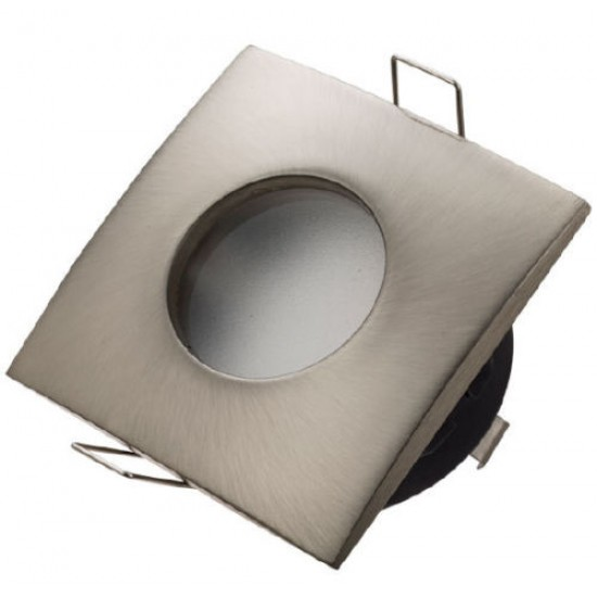 Square Bathroom Downlight Water Rated Spotlight GU10 IP44 Satin Nickel/White/Brushed Chrome