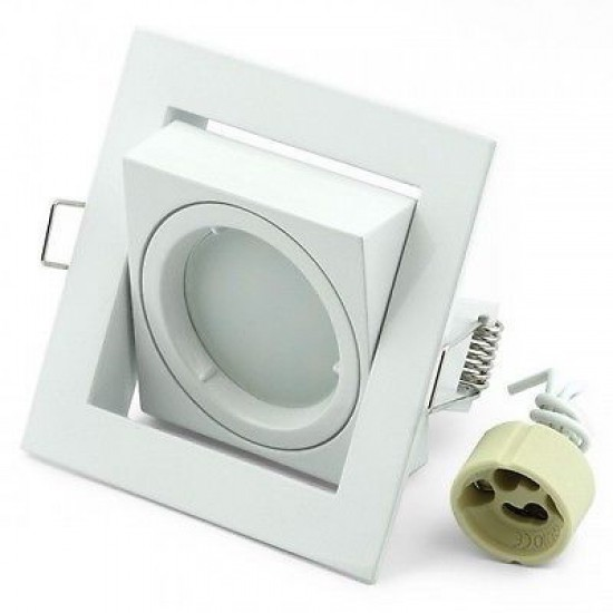 GU10 Mains Ceiling Recessed Downlight Fixture Square  white Tilted led spot ceiling lights