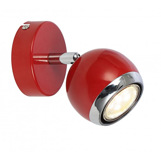 Single Round Ball Wall Or Ceiling GU10 Spotlight - Red