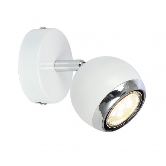 Single Round Ball Wall Or Ceiling GU10 Spotlight - White