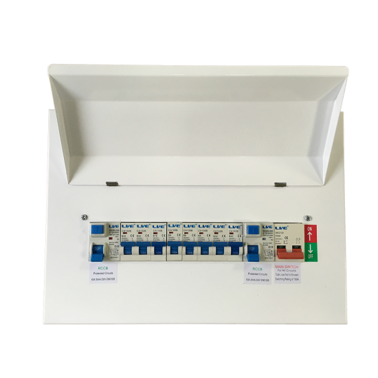 14 Module Metal Consumer Unit Twin RCD split load Distribution box 8MCB LHMC1463TR-A