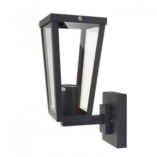 IP44 Outdoor Box Wall Light Lantern Wall Light Glass Stainless Steel Grey Finish