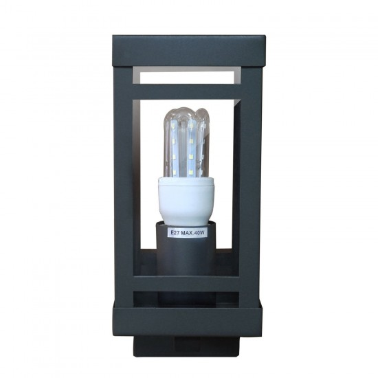 IP44 Outdoor Box Wall Light Lantern Wall Light Stainless Steel Grey Finish