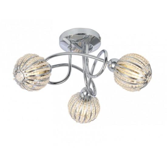 Modern Polished Chrome 3 Way Flush Ceiling Light Fitting Round Ball Bead Shades