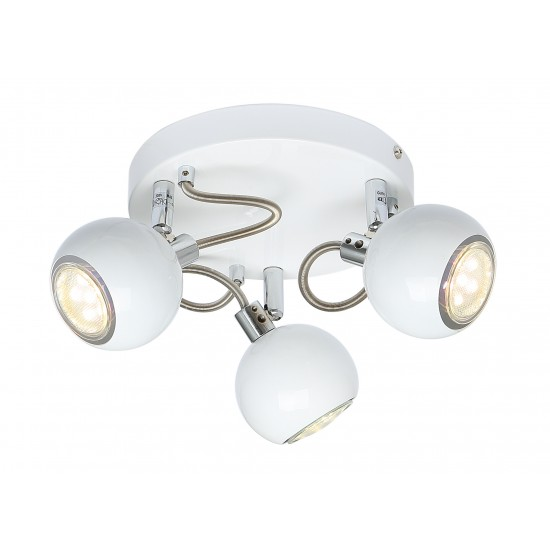 Modern 3 Way Retro Round Globe White & Chrome Ceiling Spotlight by UKEW®