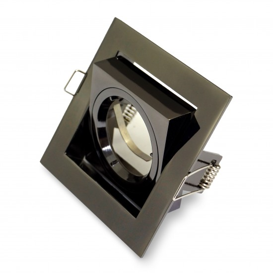Black Chrome Twist Lock Square Downlight Tilted GU10 Spotlight 240V, UKEW®