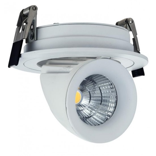 10W Dimmable Form Tilt Recessed Indoor Ceiling Gimbal Down Light White Finish