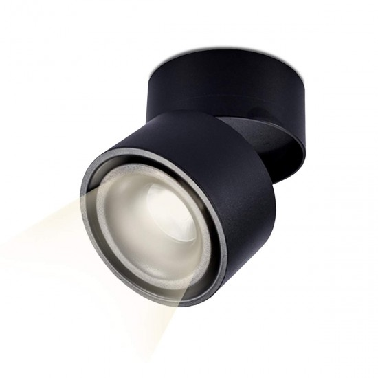15W LED Ceiling Surface Mount Cylinder Tilt Downlight Black Finish