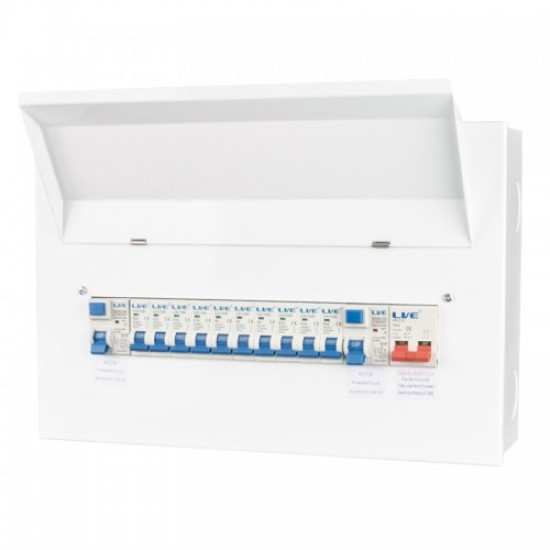 16 Module Metal Consumer Unit Twin RCD split load Distribution box LHMC1663TR-A