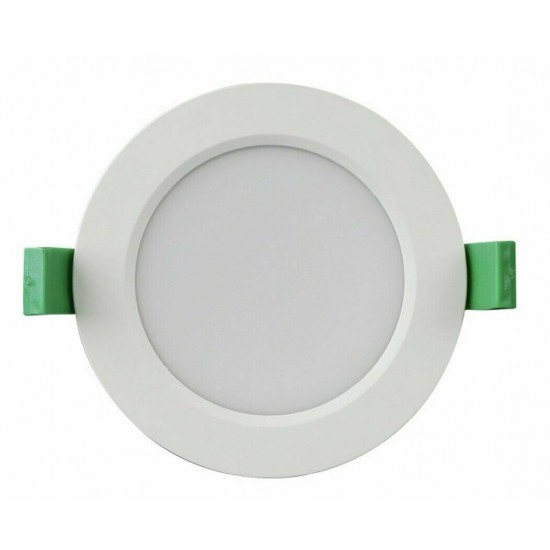 9W LED Spotlight Downlight IP44 Mains Dimmable Frosted White Tri-Colour Switch