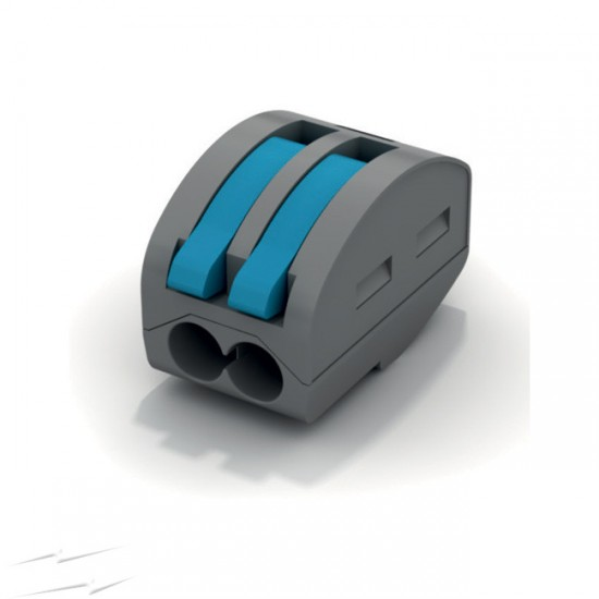 2 Pole 32A Spring Lever Terminal Connector Block 600V 0.2 - 4mm2 Solid,Flexible or Rigid Cable