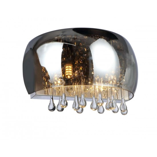 Smoked Glass Wall Light Crystal Glass Droplets
