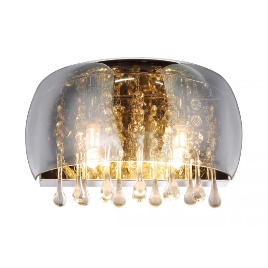Smoked Glass Wall Light Crystal Droplets