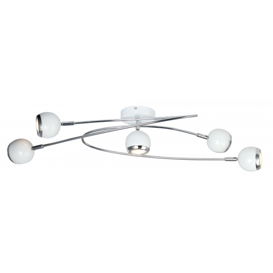 Modern 5 Way Retro Ball Light in White and Chrome Finish