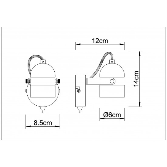 Single Adjustable Wall Bedside Light With Toggle Switch - White Colour