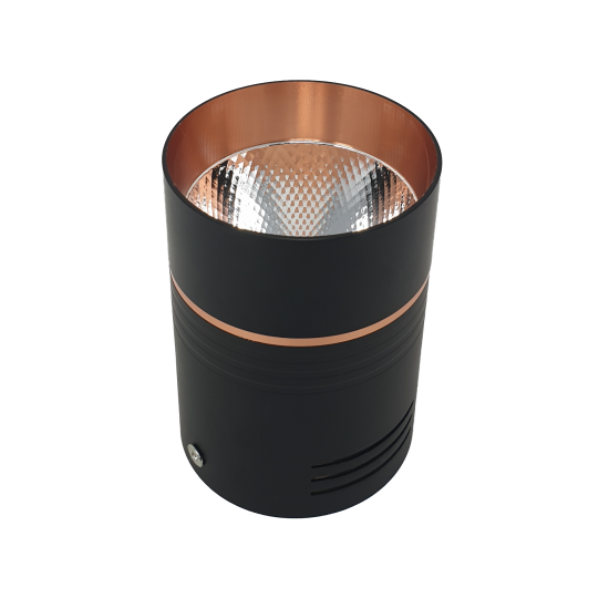 10W Led Copper Matt Black Ceiling Surface Mount Cylinder Downlight Spotlight