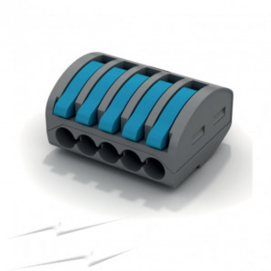 5 Pole 32A Spring Lever Terminal Connector Block 600V 0.2 - 4mm2 Solid,Flexible or Rigid Cable