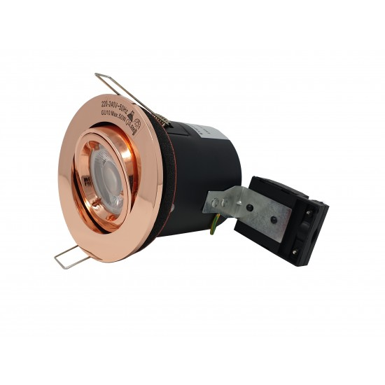GU10 Fire Rated Round Recessed Ceiling Twist Lock Downlight Tilt Adjustable - Rose Gold