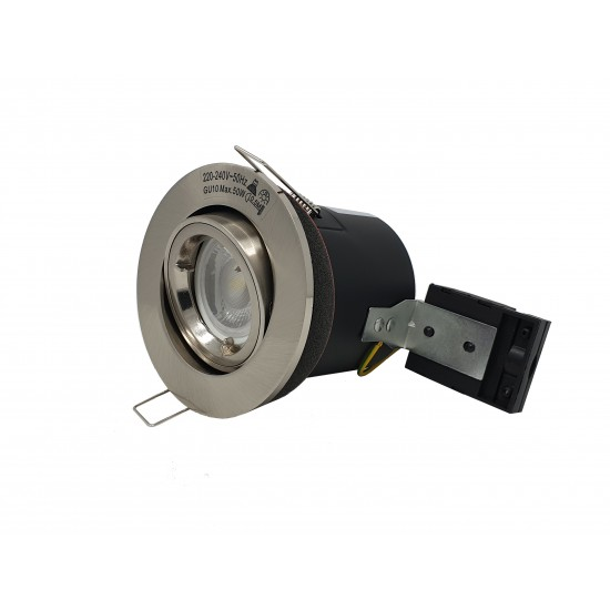 GU10 Fire Rated Round Recessed Ceiling Twist Lock Downlight Tilt Adjustable - Satin