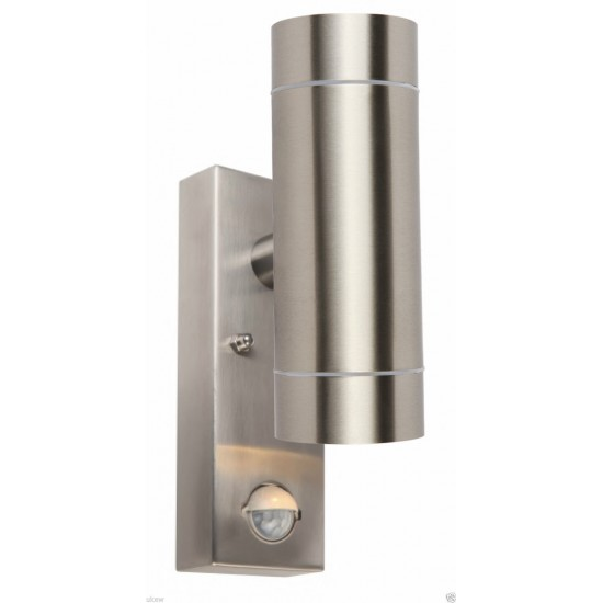 UKEW® IP44 Outdoor Stainless Steel PIR motion sensor Up and Down Wall Light  - Manual Override