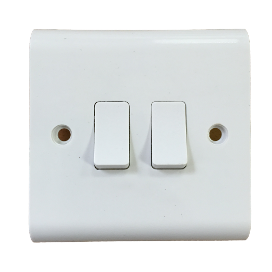 2 Gang Light Switch 1 Gang 1 or 2 Way White 10A Beveled SCREW COVER - UKEW™