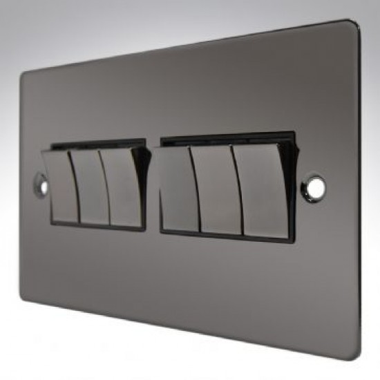 6 Gang 2 Way Switch 10A Black Nickel Slimline