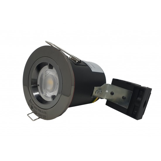 GU10 Fire Rated Round Recessed Ceiling Twist Lock Downlight - Black Chrome