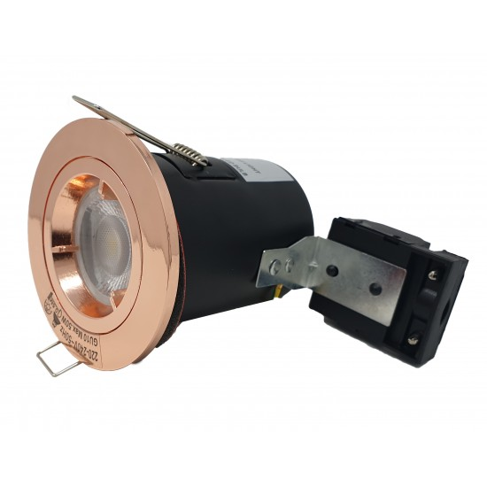 GU10 Fire Rated Round Recessed Ceiling Twist Lock Downlight - Rose Gold