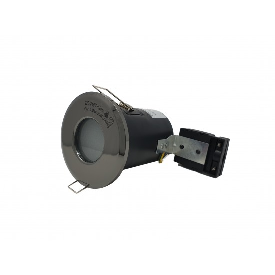 IP65 Bathroom Fire Rated GU10 Recessed Downlight Spotlight - Black Chrome