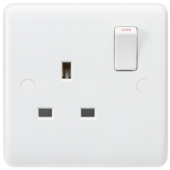 Knightsbridge 1G 13A Double Switched Socket Pure White Curved Edge Finish