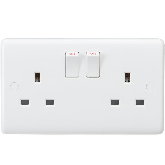 Knightsbridge 2G 13A Double Switched Socket Pure White Curved Edge Finish