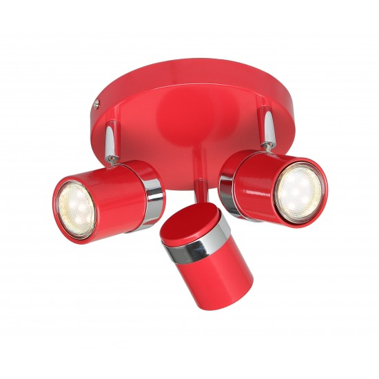 Contemporary 3 Way Red & Chrome Round GU10 Ceiling Spotlight Light by UKEW®