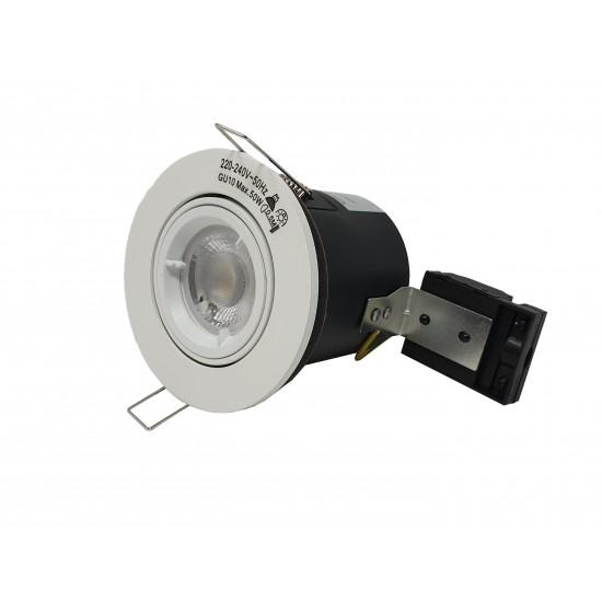GU10 Fire Rated Round Recessed Ceiling Twist Lock Downlight Tilt Adjustable - Matt White