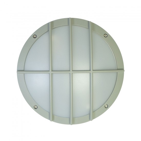Aluminium Bulkhead Light Outdoor Full grille IP65 Silver