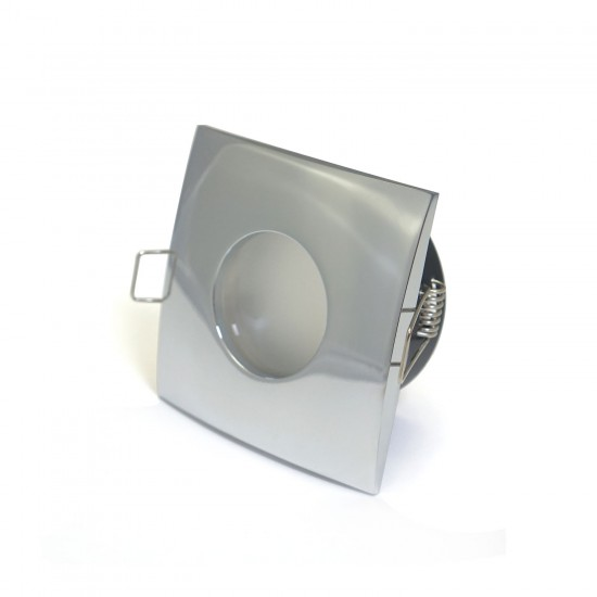 Bathroom Square Downlight IP44 Waterproof Rated Spotlight GU10 Polished Chrome